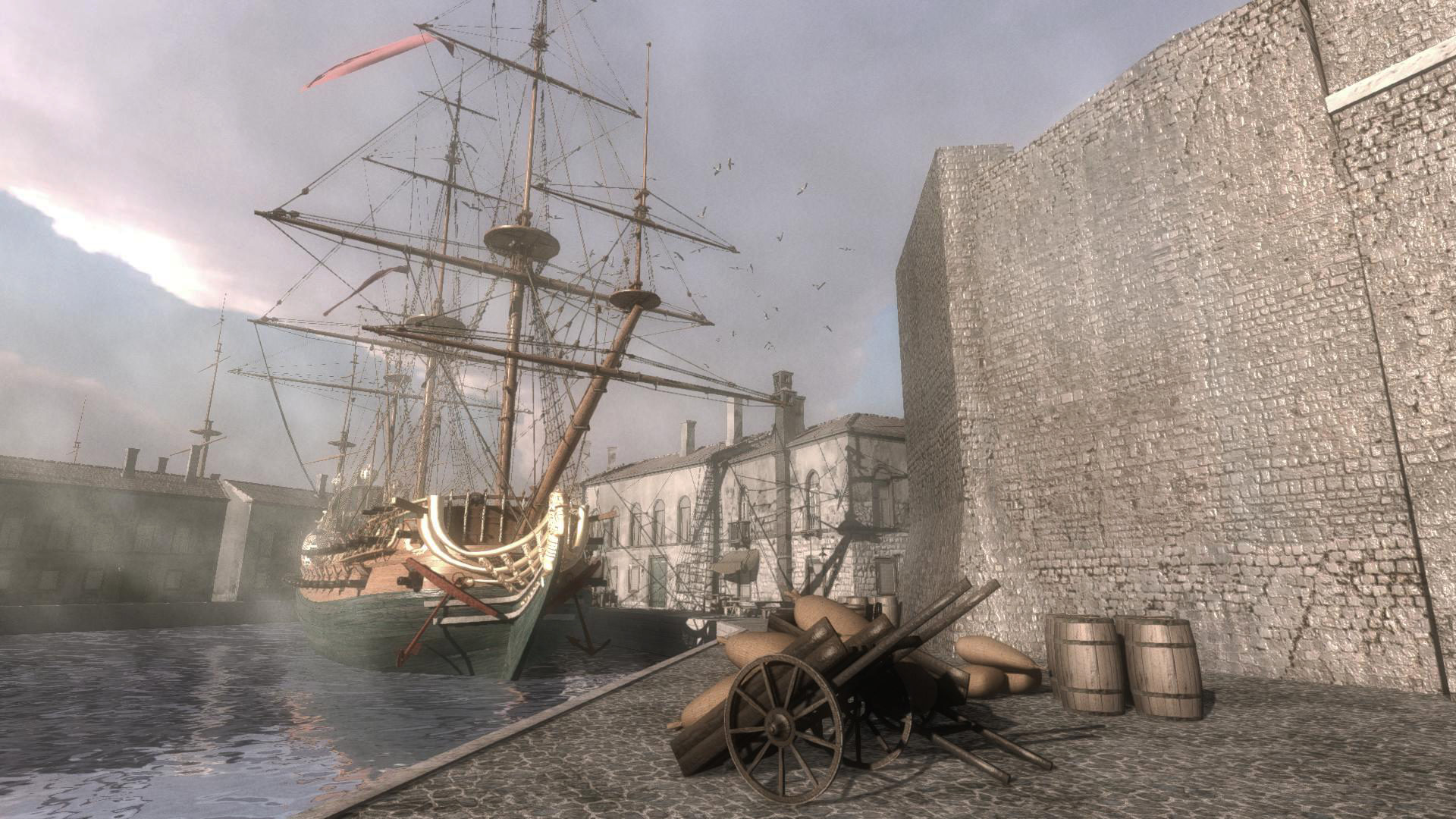 virtual reality rebuild of anne ship in harbour
